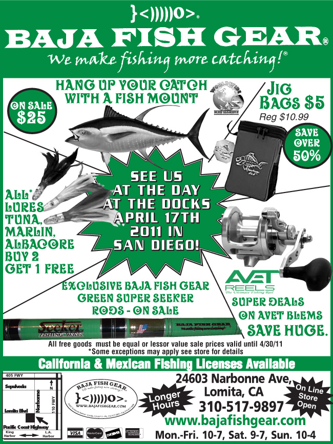 baja fish gear at day at the docks sunday april 17 save