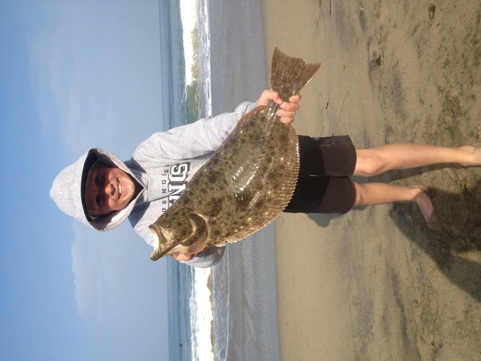 Halibut in the surf 976 tuna the original leader in fish for Surf fishing southern california
