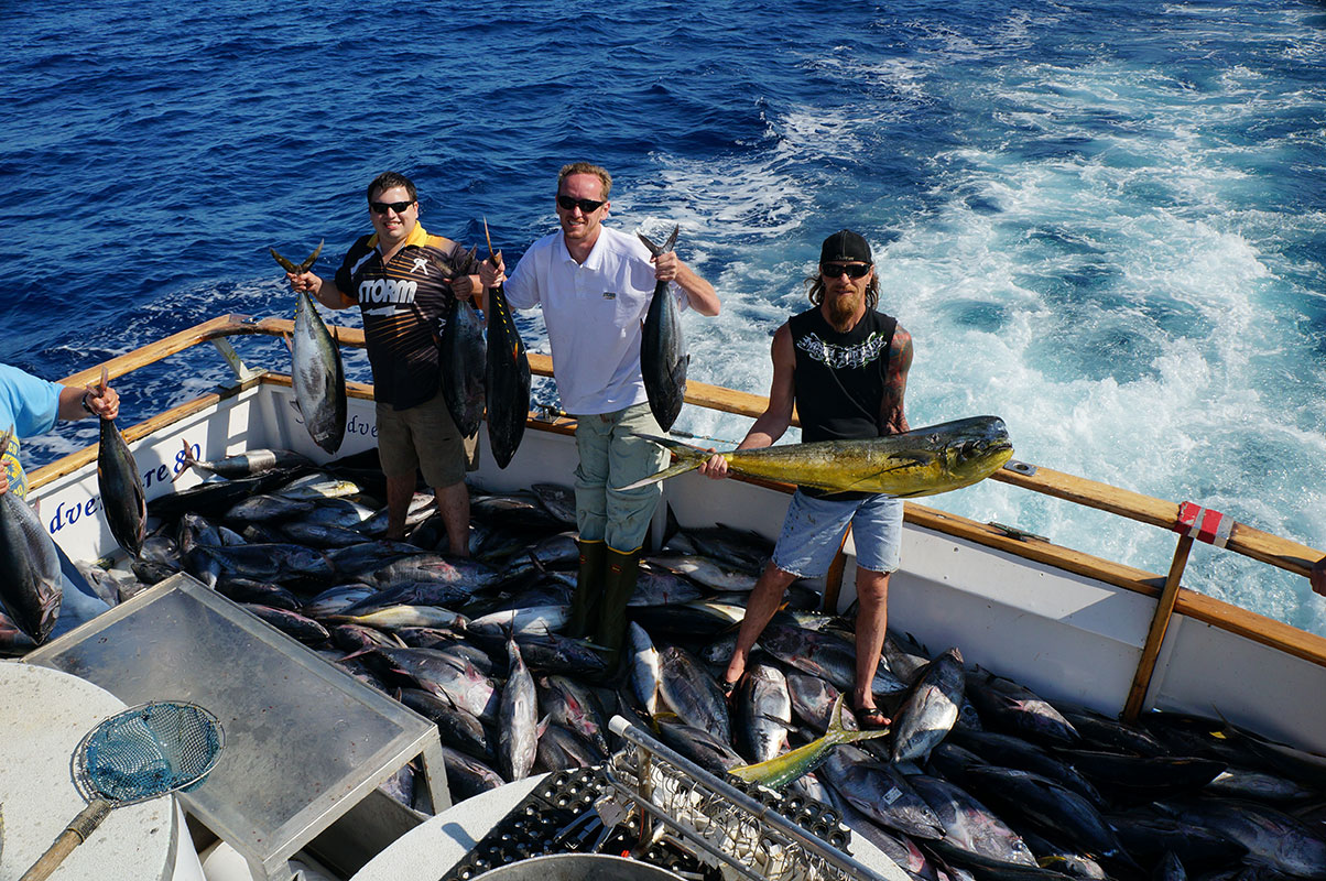 Sea adventure 80 just in and then out again 976 tuna for H m landing fish count